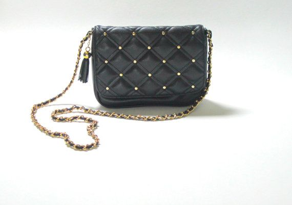 Vintage CHANEL Style Navy Blue Quilted Chain Bag: Chanel Style, Style Navy, Vintage Style