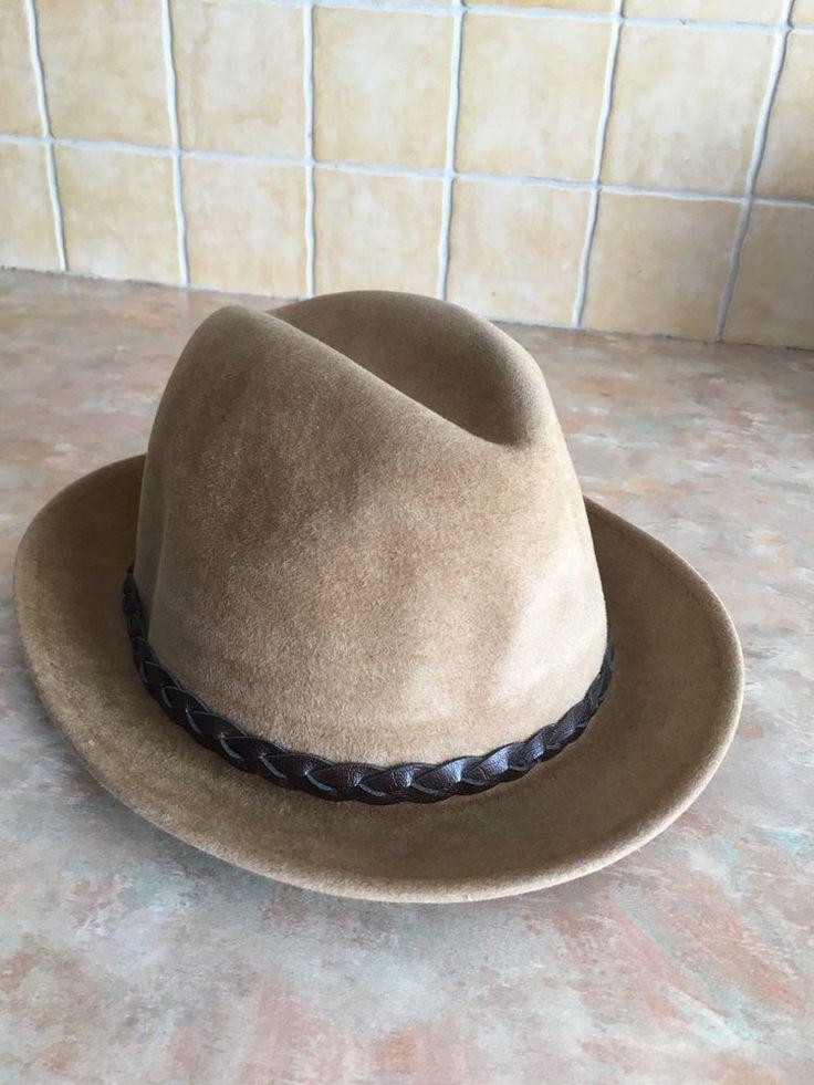 Vintage Biltmore Velurin Fedora Hat Laced Leather Band Size 6 7/8 #BiltmoreVelurin #Fedora