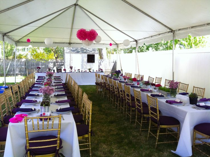 backyard engagement party, tent, white table linens with purple