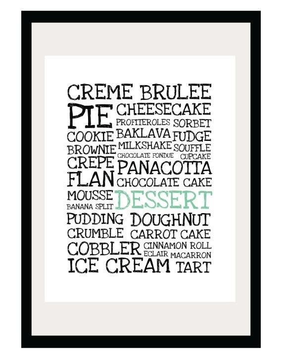 Desserts Illustration - 8.5x11 Print - Digital Illustration Poster - Kitchen Art. $16.00, via Etsy.