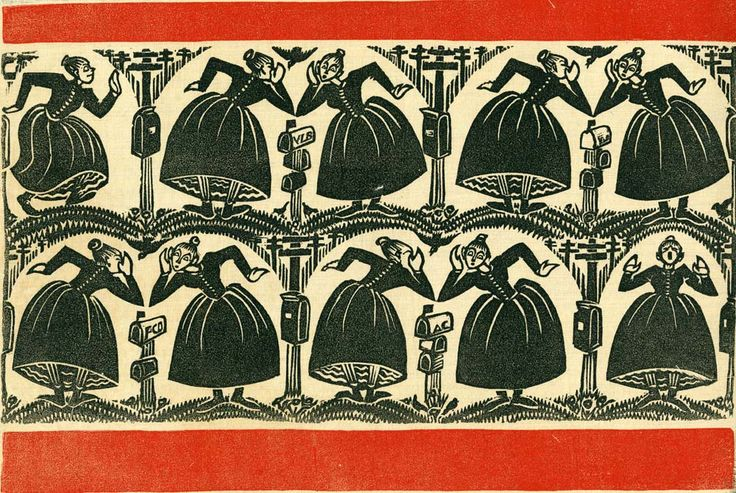 The Gossips, by Virginia Lee Burton Demetrios, famous children's author: Wood Block Print on cloth for the Folly Cove Designers near Gloucester, MA.