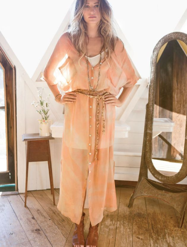 70's bohemian chiffon midi dress with a long necklace and tied belt