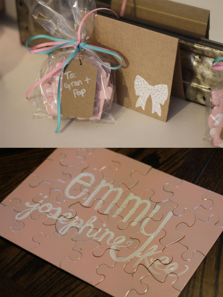 Our Gender (& Name) Reveal Puzzle Packages! Sent them out to family to announce that we are having a little girl! DIY baby project - pregnancy - announcement