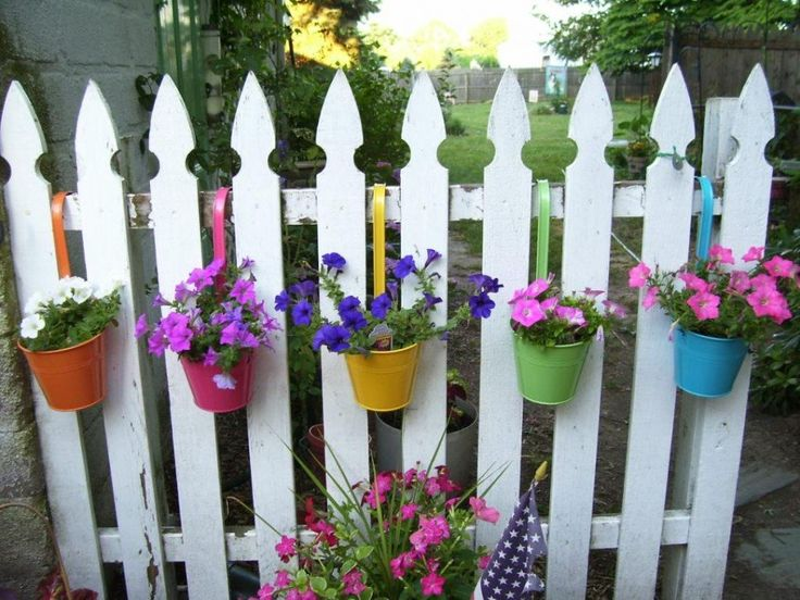 Garden and Patio, Creative DIY Hanging Flower Planter Pot Holders On A Fence Painted With White Color Ideas ~ Hanging Planter Boxes