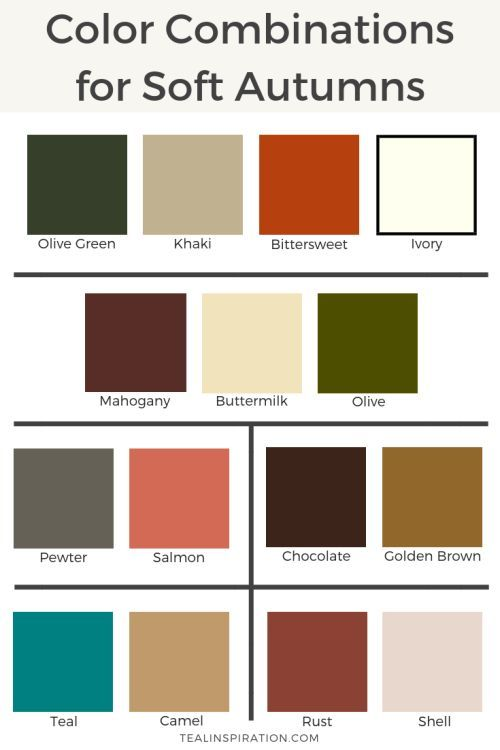 Color Combinations for Soft Autumns