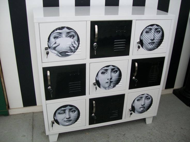 "Limited Edition Fornasetti ""Julia"" Black & White 9 Door Locker $420 @ NZ Locker Shop"
