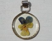 Real Flower Pendant Made with Italian Petals, Picked in Tuscany, Pressed and Dried Violet Flower set in Resin, Sterling Silver