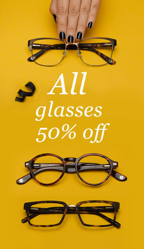 Buy prescription glasses online, first purchase all glasses 50% off + free shipping. Premium frame excluded.
