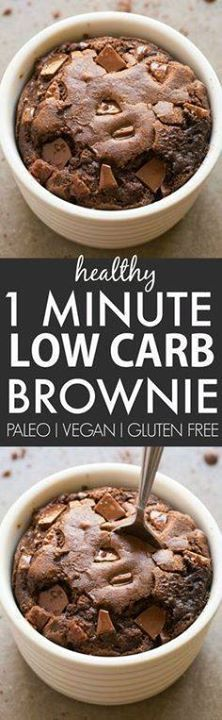 Healthy 1 Minute Low Healthy 1 Minute Low Carb Brownie- Oven...  Healthy 1 Minute Low Healthy 1 Minute Low Carb Brownie- Oven option too- Moist gooey and tender on the outside its the perfect snack dessert or treat to enjoy anytime- Packed with protein and completely sugar free and grain free! {vegan gluten free paleo recipe}- thebigmansworld.com Recipe : http://ift.tt/1hGiZgA And @ItsNutella  http://ift.tt/2v8iUYW