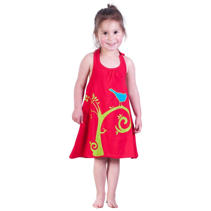 Red Halter Neck Dress with Tree Print and Applique Bird
