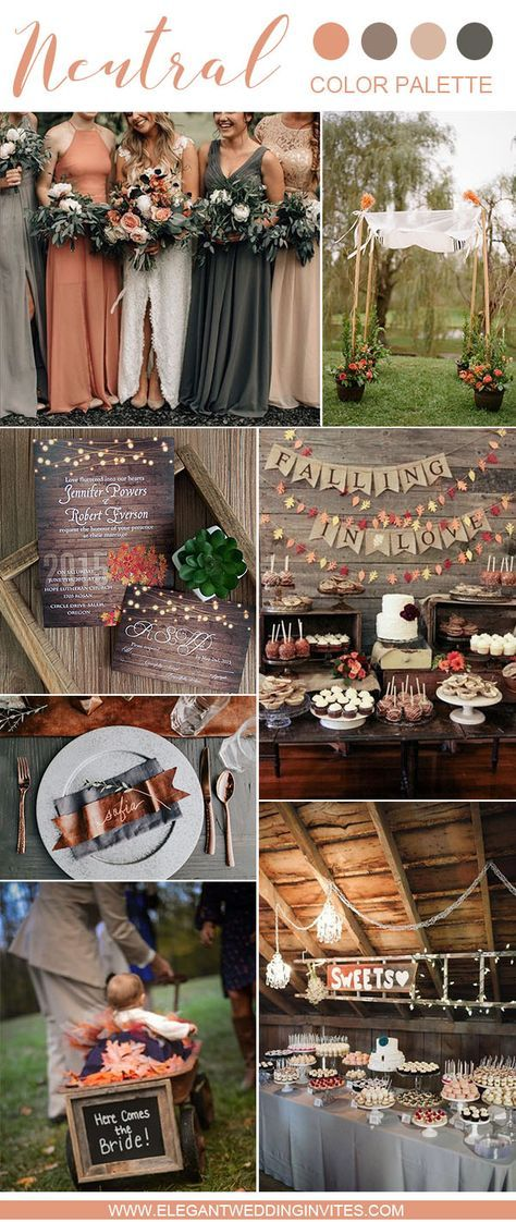 fall coral, orange and grey earthly autumn wedding color palette