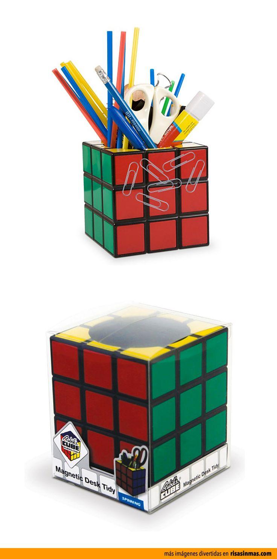 Portalápices Magnético con forma del famoso cubo de rubik