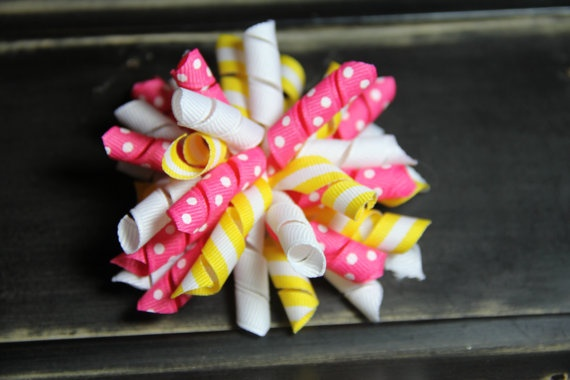 Hot Pink Yellow & White Korker Hairbow by ruffles2ribbons on Etsy, $3.00