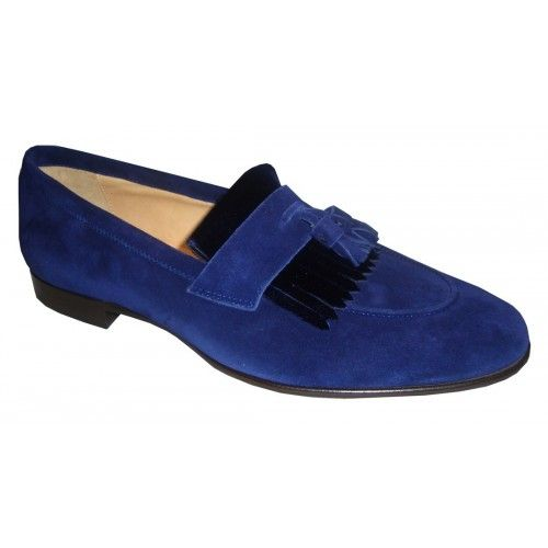Arfango blu loafer with suede tassel