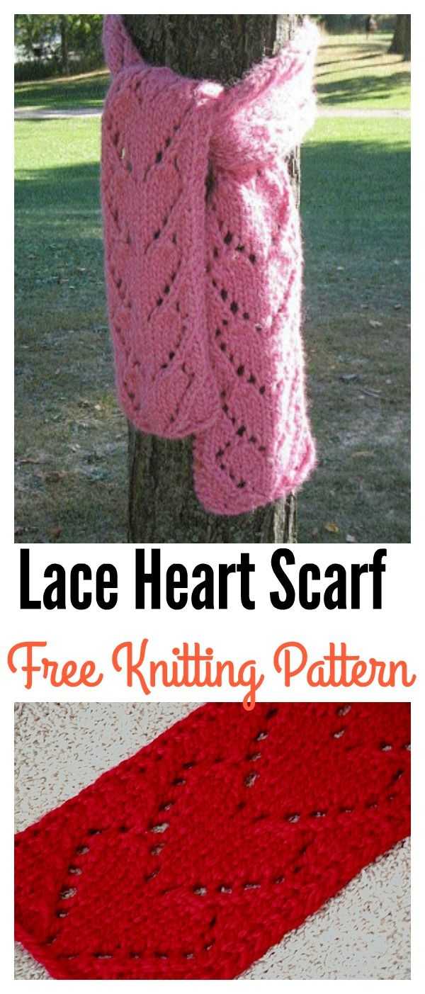 Lace Heart Scarf Free Knitting Pattern