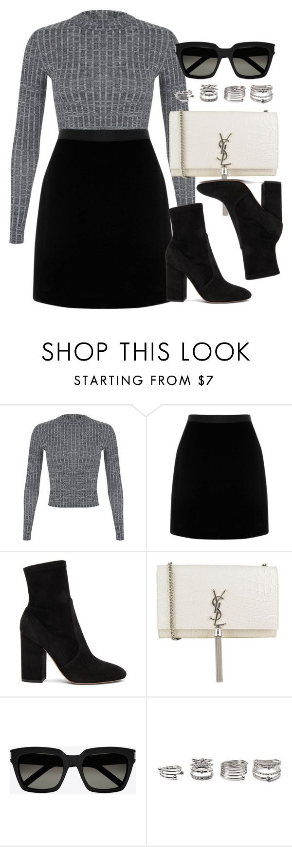 """""""Style #11535"""" by vany-alvarado ❤ liked on Polyvore featuring Miss Selfridge, Valentino, Yves Saint Laurent and Forever 21"""