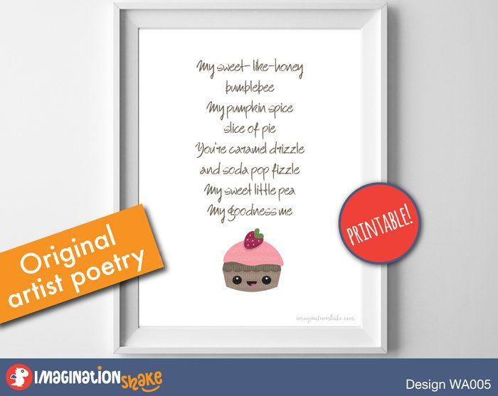 Original Nursery Poem Cupcake Wall Art PRINTABLE / Cupcake Nursery Art / Nursery Poem Prints / Printable Nursery Art / 5x7 / 8x10 Print - pinned by pin4etsy.com