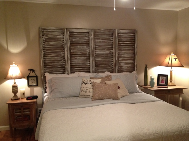 Headboard We Made Out Of Shutters Room Ideas