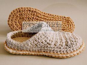 Crochê padrão-homens básicos tamancos com solas de corda, solas padrão incluído, adulto, homens, meninos adolescentes, chinelos, mocassins, arranhões, escorregar, sapatos, cabo, fio