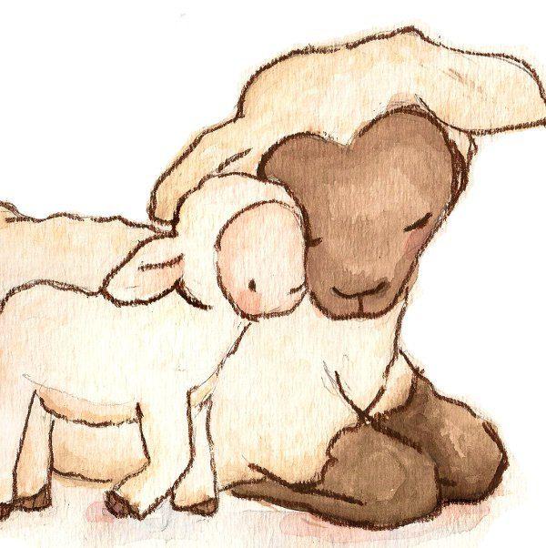 Children Art Print. My Baby Collection- My Baby Lamb. PRINT 8X10. Nursery Art Home Decor. $18.00, via Etsy.