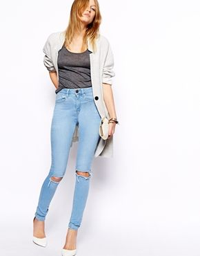 Enlarge ASOS Ridley High Waist Ultra Skinny Jeans in Watercolour Light Wash Blue with Busted Knees