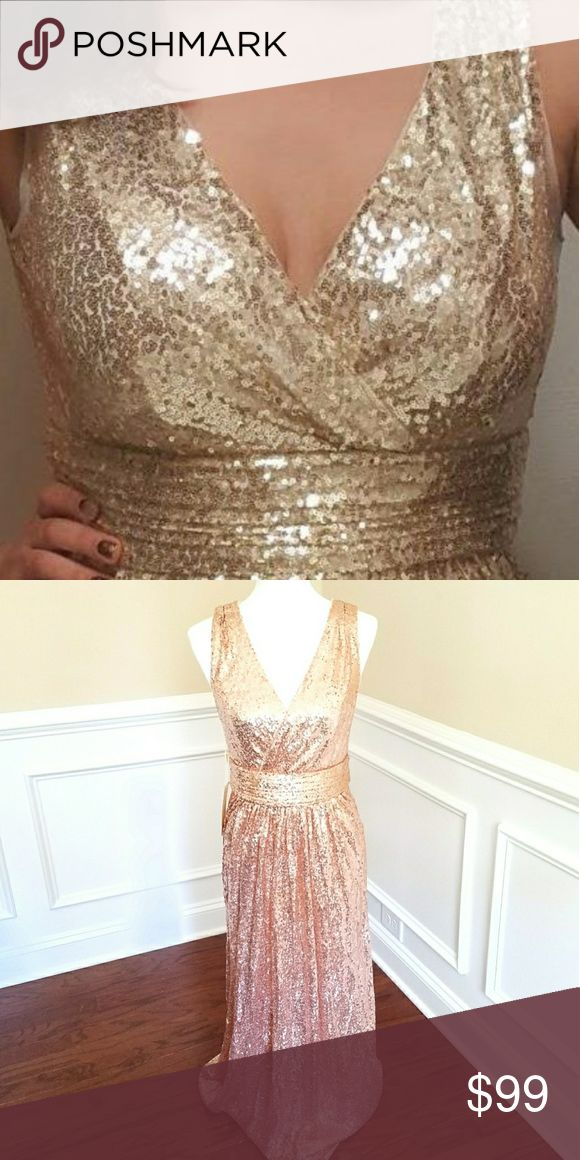 Champagne sequin bridesmaids dress gown Champagne gold sequin bridesmaid dress Sizes 10 and 14 ready to ship All other sizes available to ship within 3 business days This is a private label i sell in my boutique for $150 half of the cost of the designer names (Sorella Vita) Price is firm. Feel free to ask any questions. If you are not sure of sizing just comment your bust, waist and hips size and I'll double check for you. Thank you! No trades Dresses Wedding