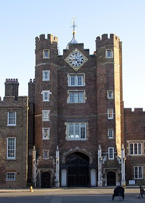 Main entrance of St. James's Palace in Pall Mall survives from Henry VIII's palace