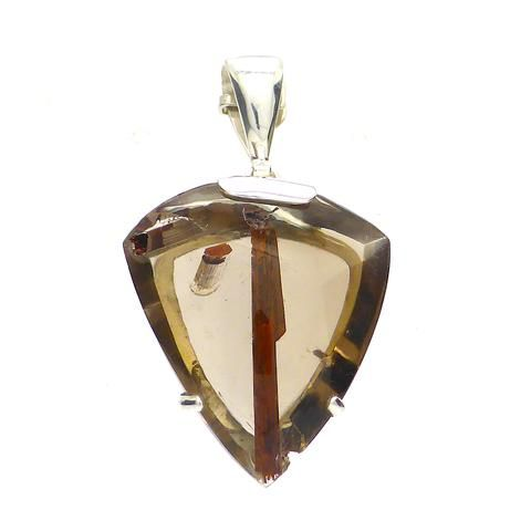 Natural Red Epidote in Smoky Quartz Pendant | 925 Sterling Silver | Activate your True Awareness | Crystal Heart Melbourne Australia since 1986