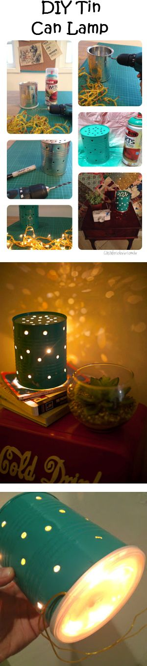 Empty Tin Can w/ Lid + a String of Christmas Lights = DIY Nightlight which gives off a beautifully dreamy starry night sky effect. Pure joy for your littles.