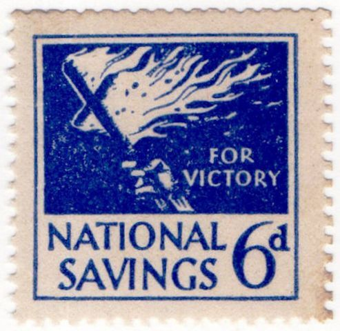 A wartime National Savings Stamp for sixpence. You collected these until there was enough for a 15 shilling (75p) National Savings certificate SUBMITTED maureen-oct-03