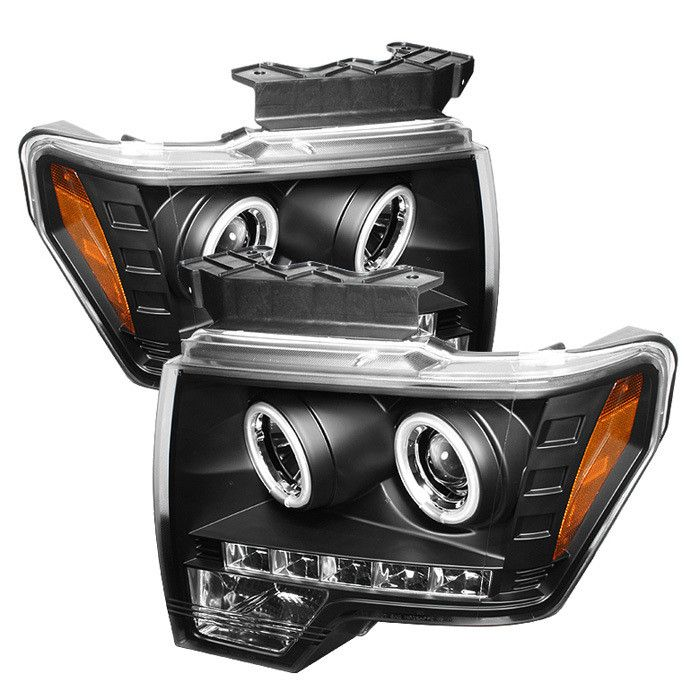 ( Spyder ) Ford F150 09-14 Projector Headlights - Halogen Model Only ( Not Compatible With Xenon/HID Model ) - CCFL Halo - LED ( Replaceable LEDs ) - Black - High H1 (Included) - Low H1 (Included)