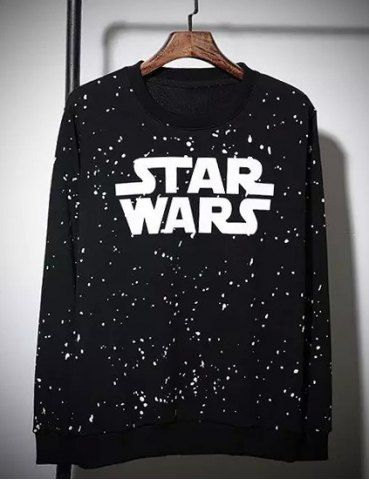 Star Wars Print Splashed Ink Round Neck Long Sleeves Men's Vogue Sweatshirt Hoodies & Sweatshirts | RoseGal.com