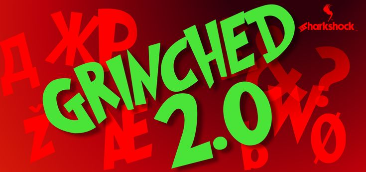 """Grinched 2.0 is a Seuss-like display font that features European accents and Cyrillic characters. It was inspired by the Dr. Seuss book """"How the Grinch stole Christmas"""". The free demo is available for personal use only.  #fonts #font #typography #sharkshock #Cyrillic #Russian #Greek #Grinch #Seuss #русский #кириллица #шрифт"""