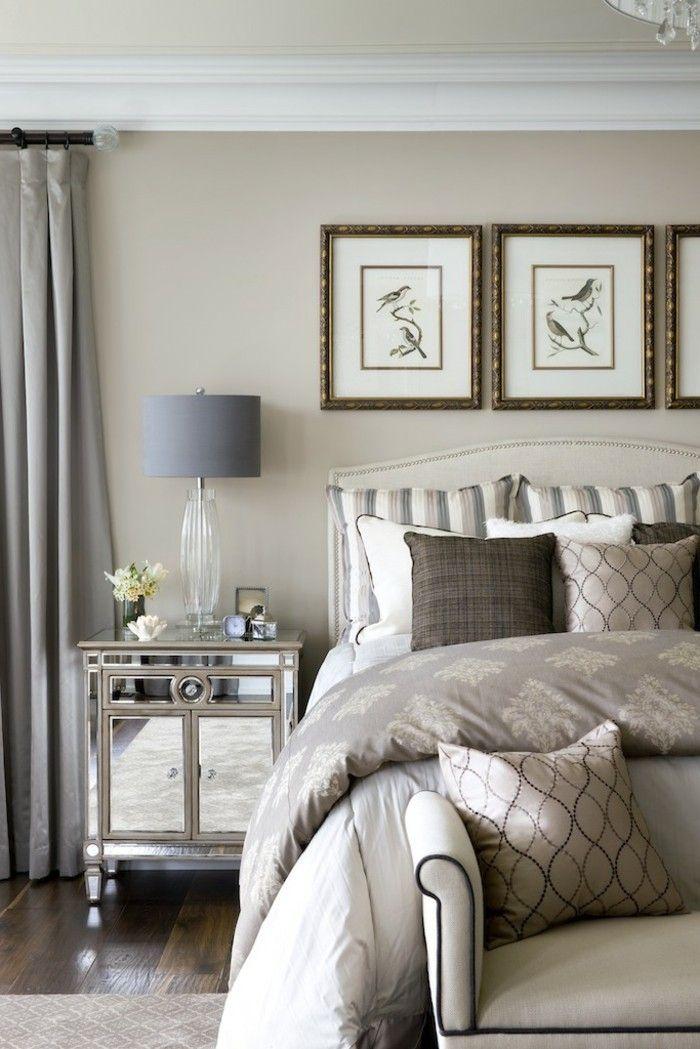 La couleur taupe clair papier peint chambre adulte jolie