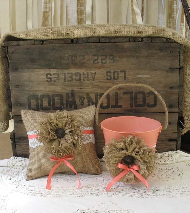 Flower Girl Basket Ring Bearer Pillow Shabby Chic Wedding Rustic Wedding Coral. $60.00, via Etsy.