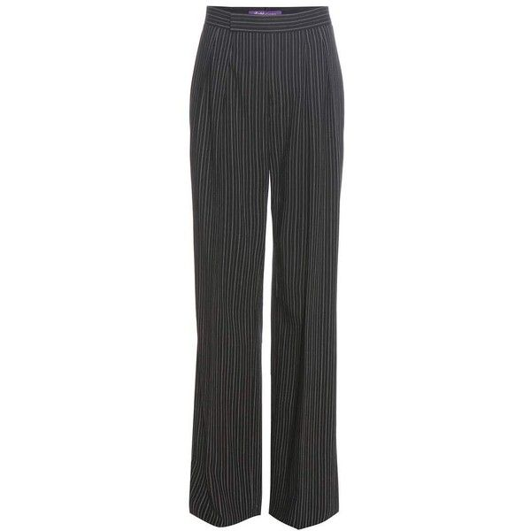 Ralph Lauren Harrison Pinstriped Wool Crêpe Trousers ($1,290) ❤ liked on Polyvore featuring pants, black, ralph lauren trousers, ralph lauren, crepe pants, woolen pants and ralph lauren pants