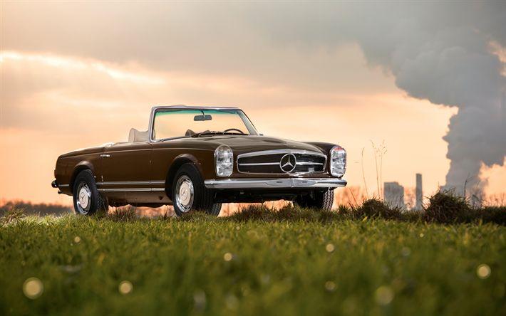 壁紙をダウンロードする 4k, メルセデス-ベンツ280SL, レトロ車, 1968車, cabriolets, ドイツ車, メルセデス