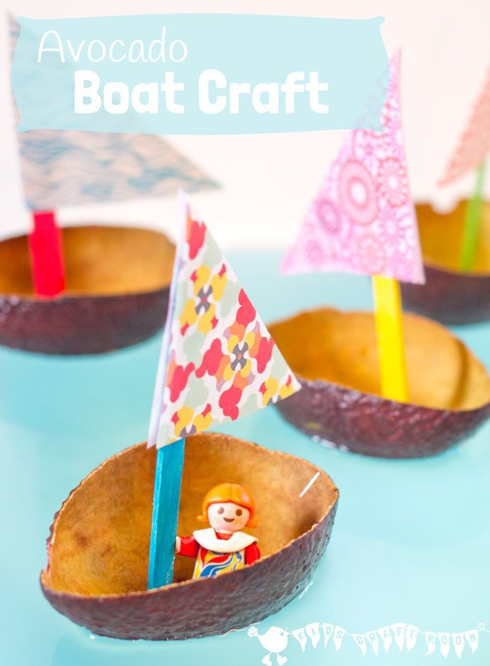 CUTE AVOCADO BOAT CRAFT FOR KIDS. Homemade boat crafts for kids encourage imaginative play where small world play figures can sail around the wading pool or bath. Learn about floating, sinking, buoyancy and weight bearing. A fun boat craft for Spring and Summer.