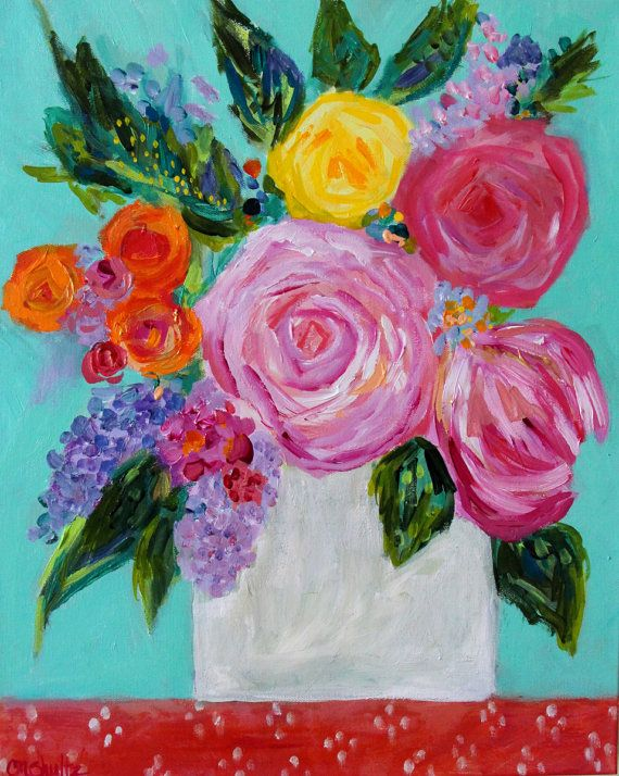 "Abstract Flower Painting, Bouquet with Aqua and Coral, Spring Blooms GICLEE PRINT, ""Sadie"""