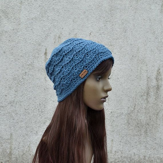 Shell Cotton Hat, Lace Cotton Hat, Spring Hat, Summer Hat, Cool Hat, Hippie Hat, Petrol Blue Hat by acrazysheep. Explore more products on http://acrazysheep.etsy.com