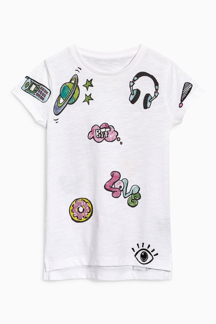 Design t shirt online uk - Buy White Graffiti Print T Shirt From The Next Uk Online Shop