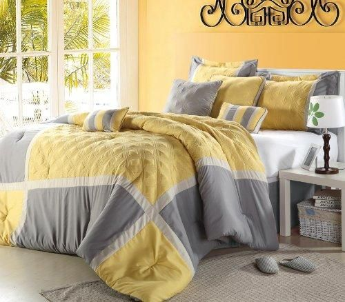 "Shelly"" Oversized & Overfilled 8 Piece Yellow & Grey Comforter Set, Queen Size"