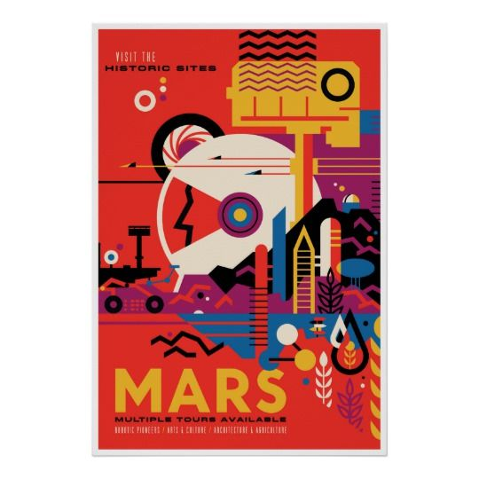 Historic Sites of Mars Space Tourism Illustration Poster | Zazzle.com – Simone Van Aalten