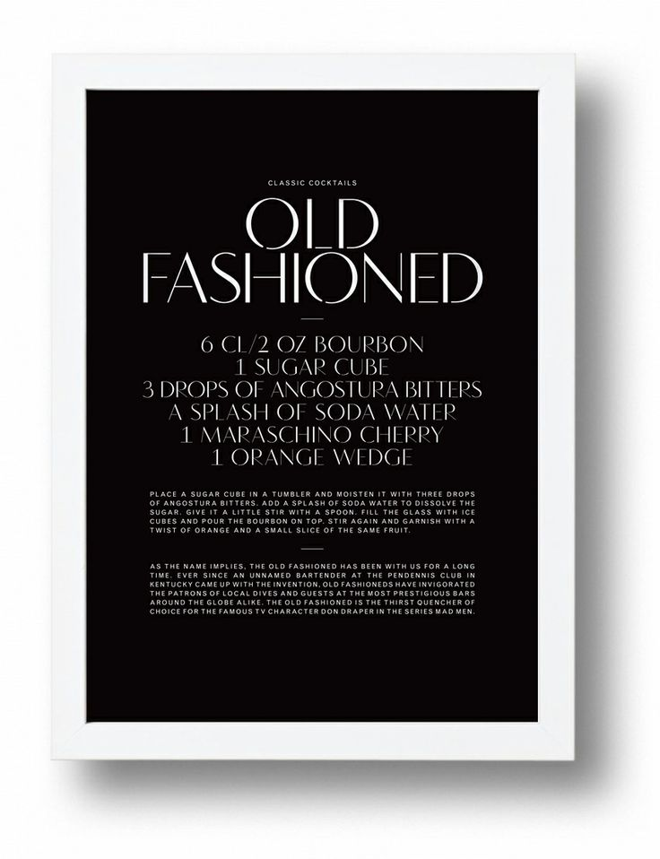 Old Fashioned typographic cocktail poster