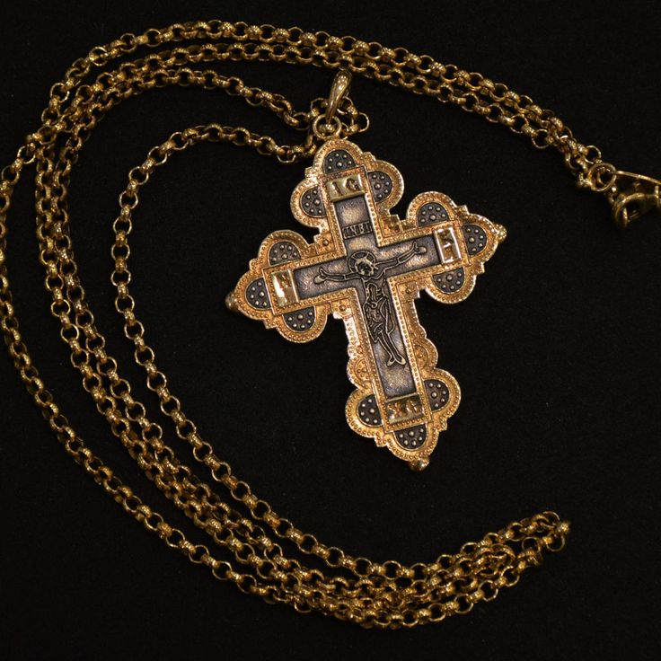 Orthodox Cross Greek Russian With Neckchain Gold Plated Silver .925 / КРЕСТ
