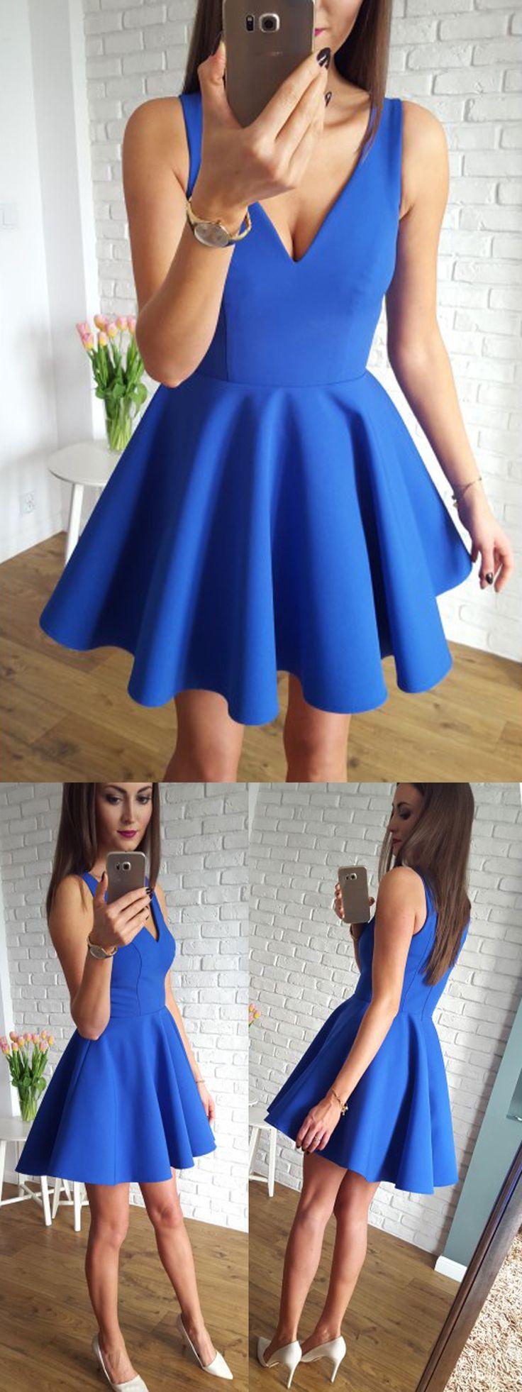 A-Linie V-Ausschnitt Kurz Königsblau Heimkehr Kleid mit Rüschen