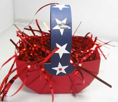 July4basketRedFront with how to: Blessed America, Cards Ideas, 4Th Baskets, Freedom Rings, God Blessed, July 4Th, July Ideas, Treats Boxes Bags, Crafty Ideas