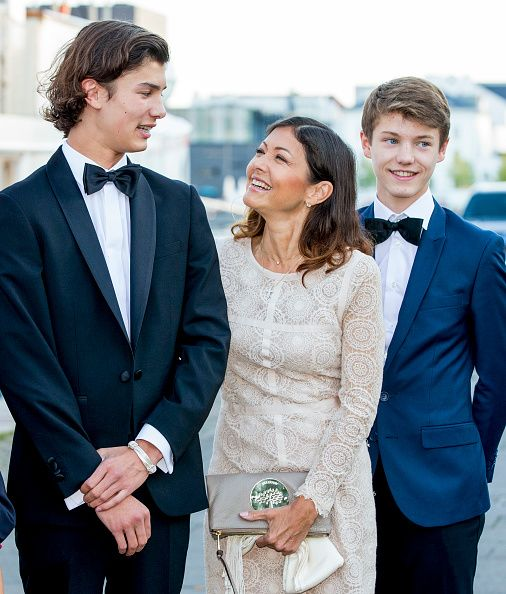 Countess Alexandra of Denmark with her two children Prince Nikolai of Denmark (L) and Prince Felix of Denmark (R) attends the 18th birthday celebration of her older son Prince Nikolai at royal ship Dannebrog on August 28, 2017 in Copenhagen, Denmark.