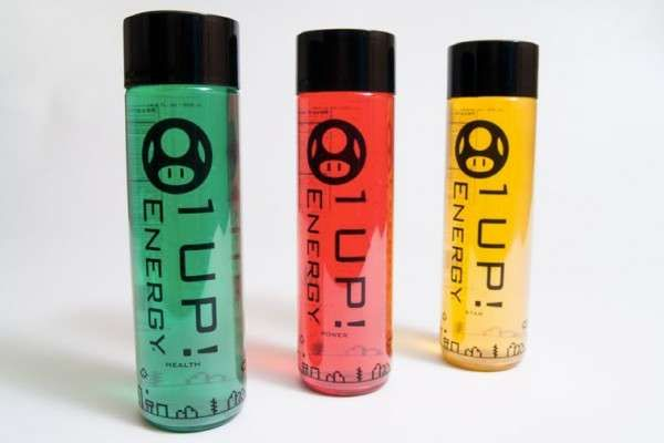 The '1 Up' Super Mario-Themed Energy Drink Will Boost You Up #energydrink #packaging trendhunter.com