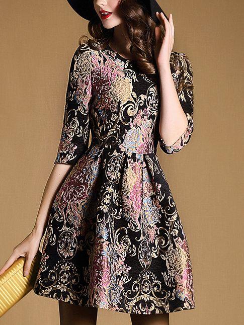Black Round Neck Half Sleeve Jacquard Dress -SheIn(abaday)
